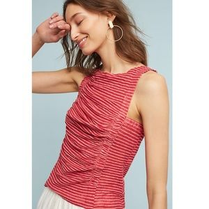NWT Anthropologie Deletta Red Ruched Tank